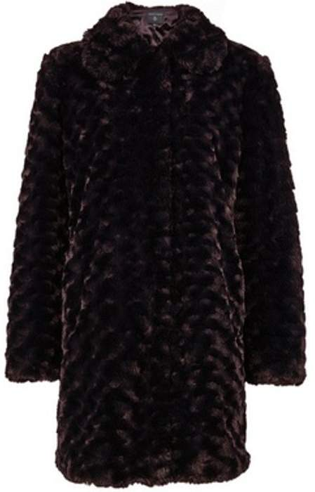 Womens Chocolate Brown Longline Faux Fur Coat