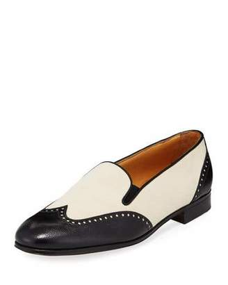 Gravati Bicolor Mixed Leather Wing-Tip Flat