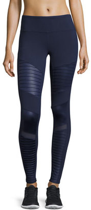 Alo Yoga Moto High-Waist Sport Leggings, Navy $110 thestylecure.com