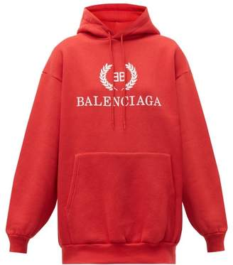 Balenciaga Bb Logo Cotton Blend Hooded Sweatshirt - Womens - Red