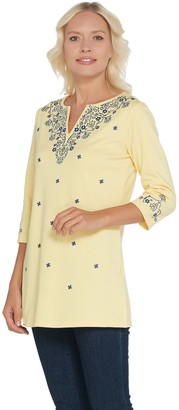 Factory Quacker Bandana Embroidered 3/4 Sleeve Knit Tunic