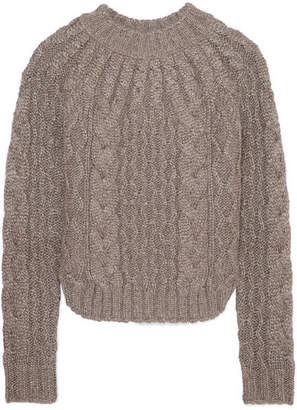 Saint Laurent Metallic Cable-knit Sweater - Gray