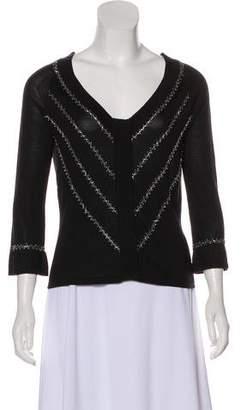 Philosophy di Alberta Ferretti Embellished Knit Silk Long Sleeve Top
