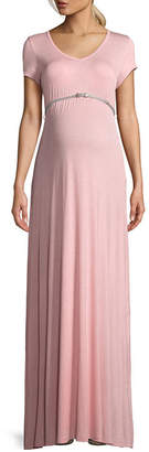 PLANET MOTHERHOOD Planet Motherhood Short Sleeve Scoop Neck Maxi Dress - Maternity