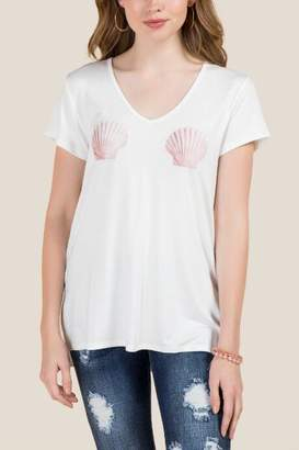francesca's Mermaid Shell Graphic Tee - White