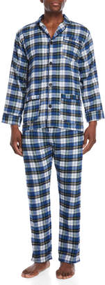 Bottoms Out Two-Piece White & Blue Pajama Shirt & Pant Set