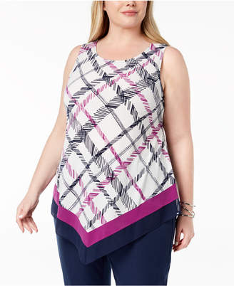 Alfani Plus Size Asymmetrical-Hem Tank, Created for Macy's
