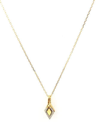 Adina Tiny-Pave-Diamond Dog-Tag Necklace