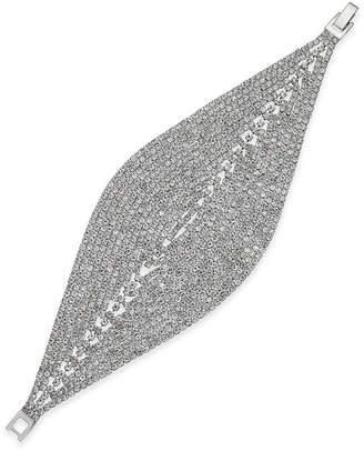 INC International Concepts Woman I.N.C. Woman Silver-Tone Crystal Mesh Foldover Bracelet, Only at Macy's