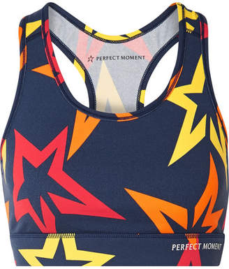 Perfect Moment - Starlight Printed Stretch Sports Bra - Navy