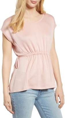 Bobeau Cinched Waist French Terry Top (Regular & Petite)
