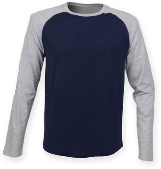 Skinni Fit Skinnifit Mens Raglan Long Sleeve Baseball T-Shirt (L) (Heather Gray/Black)