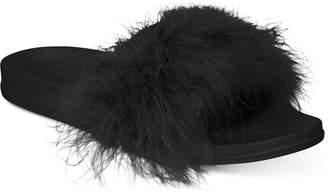 INC International Concepts I.n.c. Women Faux-Marabou Slide Slippers
