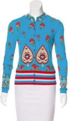 Blugirl Floral Print Crew Neck Cardigan