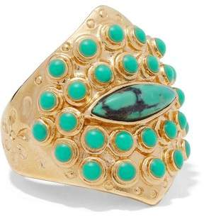 Aurelie Bidermann Navajo 14-Karat Gold-Plated Stone Ring