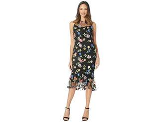 Calvin Klein Floral Lace Dress with Ruffle Hem