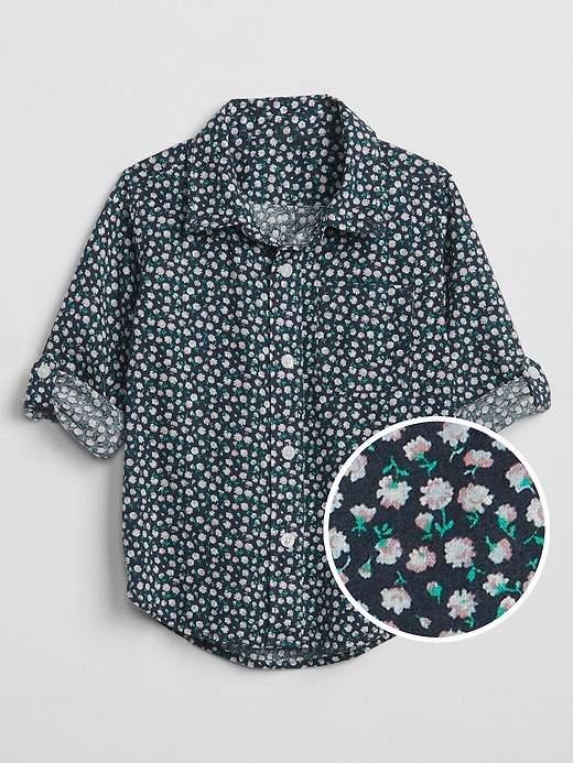 Print Convertible Shirt in Linen
