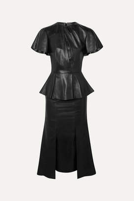 Alexander McQueen Leather Peplum Midi Dress - Black