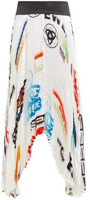 Marine Serre Logo Print Contrast Panel Pleated Satin Skirt - Womens - White Multi