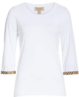 Burberry Lohit Check Cuff Stretch Cotton Tee