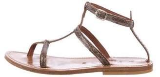 K Jacques St Tropez Embossed T-Strap Sandals