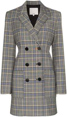 Tibi double breasted check print wool blend blazer dress