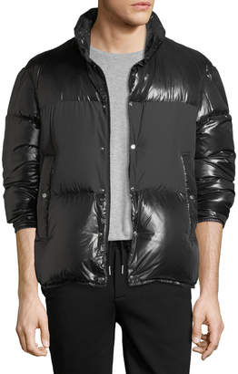 Moncler Aynard Shiny Puffer Jacket w/ Matte Center