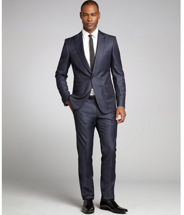Z Zegna danube blue dash stripe wool single button and flat front pants suit