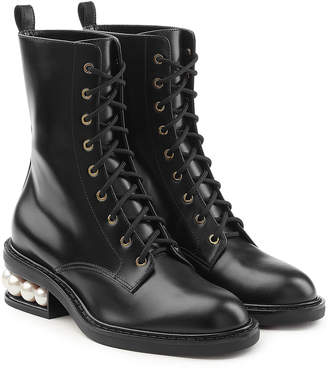 Nicholas Kirkwood Casati Leather Ankle Boots with Pearls