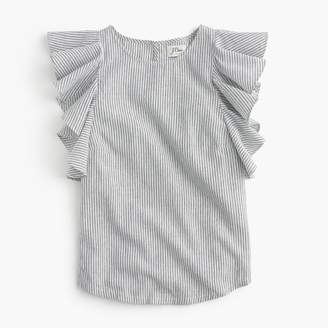 J.Crew Petite ruffle top in stripe