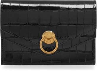 a7f2dc9512 Mulberry Harlow Medium Wallet Black Croc Print
