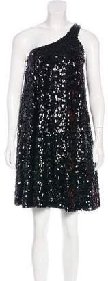 Halston Sequin-Embellished One-Shoulder Dress