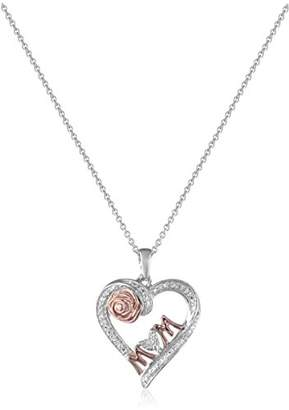 14K Rose Gold over Sterling Silver Diamond Accent MOM Heart Pendant Necklace