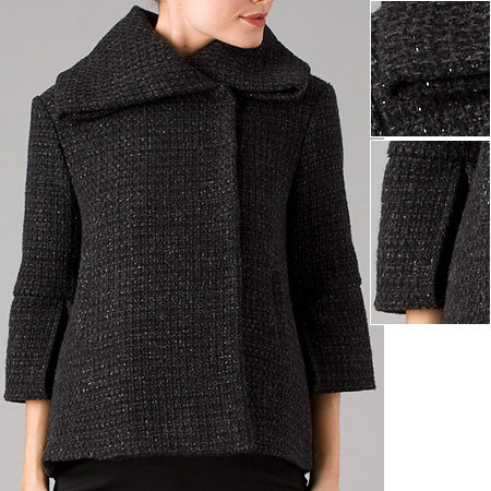 cadeau Boucle Overlapping Collar Wrap Coat with Silver Lurex