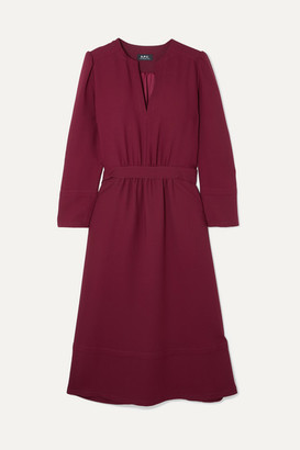 A.P.C. Belted Crepe Midi Dress - Burgundy