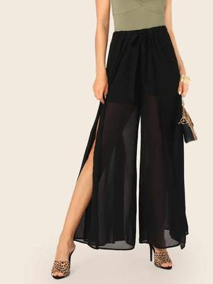 Shein Tie Waist Split Side Semi Sheer Pants