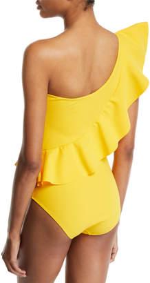 Chiara Boni Atlante One-Shoulder Ruffle One-Piece Swimsuit