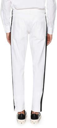 Alexander McQueen Side-Striped Slim-Straight Jeans