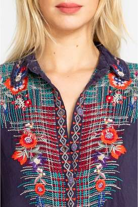 Johnny Was Plaid Embroidery Button-Down