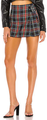 DANIELLE GUIZIO Pleated Plaid Mini Skirt