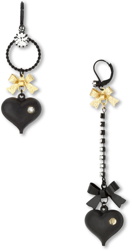 Betsey Johnson 'Charm School' Mismatched Heart Earrings