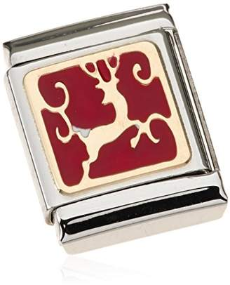 Nomination Composable BIG Reindeer Charm - 18–Carat Gold / Stainless Steel Partially Gold-Plated Enamel 032244 / 08