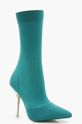 boohoo Clear Heel Pointed Toe Sock Boots