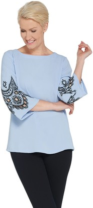 Bob Mackie Bob Mackie's Embroidered Lace and Cut Out Bell Sleeve Pullover Top