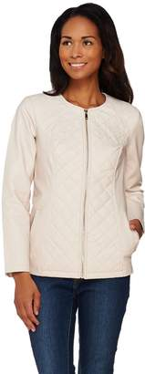 Dennis Basso Faux Leather Quilted Jacket with Embroidery