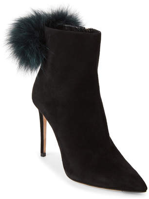 Jimmy Choo Black & Teal Tesler Real Fur Pom-Pom Ankle Boots