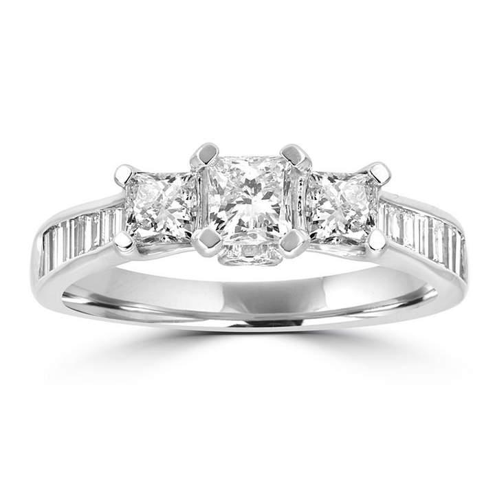 MODERN BRIDE Love Lives Forever Womens 1 1/2 CT. T.W. Multi-Shape White Diamond 14K Gold 3-Stone Ring