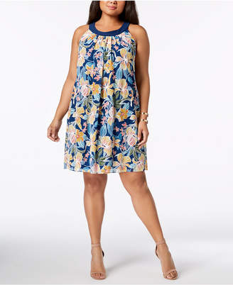 Robbie Bee Plus Size Floral Printed Shift Dress