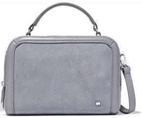 Halston Suede-Paneled Leather Shoulder Bag