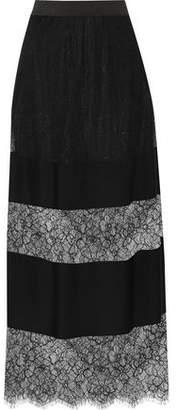 Maje Paneled Lace And Crepe Midi Skirt